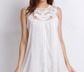 Sweet A-Line White Tank Dress.