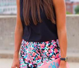 Chic Mult color Trimmed Shorts