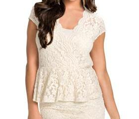 Sexy Flawless Lace Ivory Peplum Dress