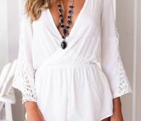 Plunging Surplice Lace Paneled Romper