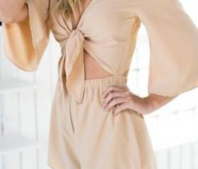 Fashion Bow Front Lace Hollw-out Back Romper
