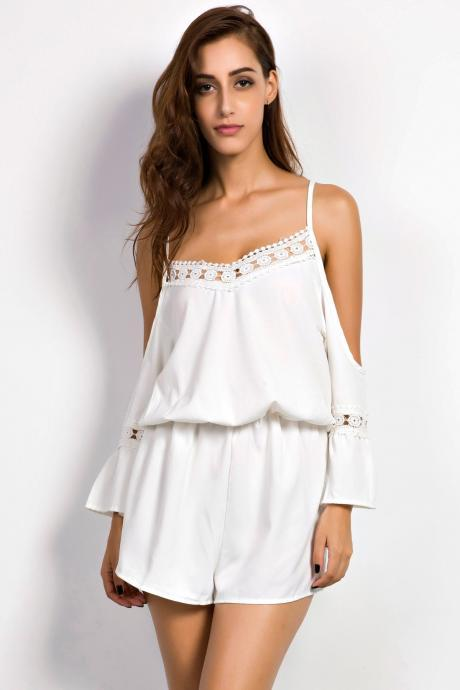 Hot Lace Paneled Off Shoulder V Neck Romper